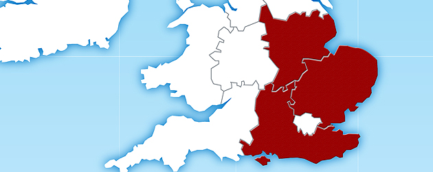 South, South East and East of England